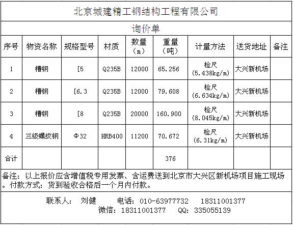 北京城建精工钢结构工程有限公司招标采购公告-兰格